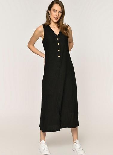 Loves You V Yaka Düğmeli Krinkıl Elbise Siyah